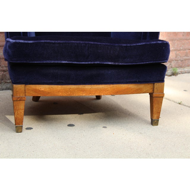 1960s Art Deco Blue Mohair Velvet Armchairs - a Pair For Sale - Image 11 of 13