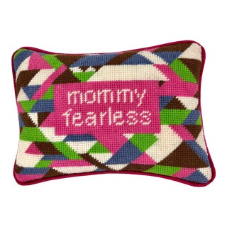 "Wool Tapestry ""Mommy Fearless"" Needlepoint Pillow, Hand-Stitched Original Design For Sale"