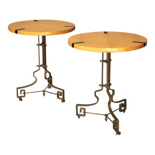 Pair of Midcentury Gueridon French Folding in Brass and Pearwood 1960s For Sale