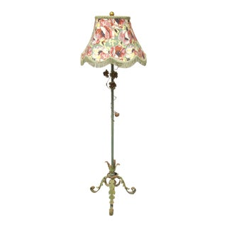 Antique Painted Iron Floor Lamp For Sale