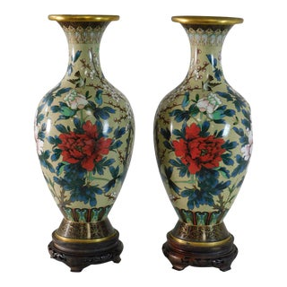 Pair Japanese or Chinese Cloisonne on Metal Floral Design Vases w/carved Wood Bases For Sale