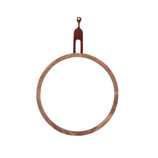 Round Hanging Mirror With Leather Strap For Sale