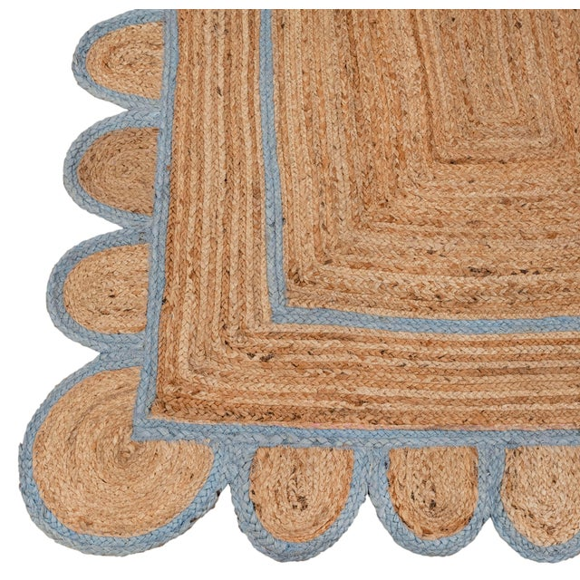 Not Yet Made - Made To Order Light Blue Scallop Jute Hand Made Rug - 2'x3' For Sale - Image 5 of 9
