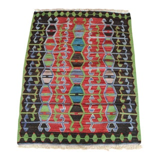 1960s Turkish Fine One-Of-A-Kind Handmade Kilim Rug - 3'2'' x 4'4'' For Sale