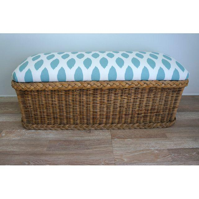 Vintage Upholstered Wicker Bench - Image 2 of 5