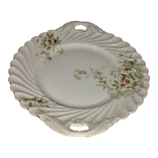 German White Porcelain Floral Serving Plate For Sale
