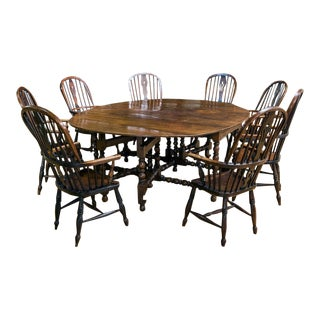 19th Century English Oak Drop Leaf Dining Set - 9 Pieces For Sale