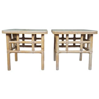 Hollywood Regency 2 Ficks Reed Bamboo Coffee End Tables - a Pair For Sale