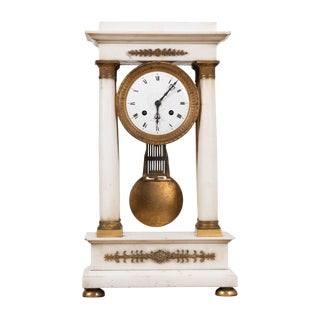 French 19th Century Empire Portico Clock For Sale