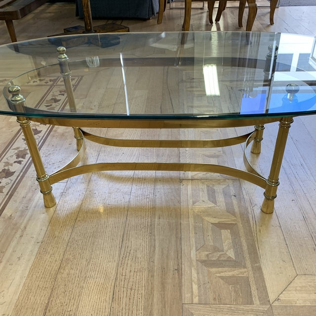 Gold Maison Jenson Style Polished Brass + Glass Coffee Table For Sale - Image 8 of 9