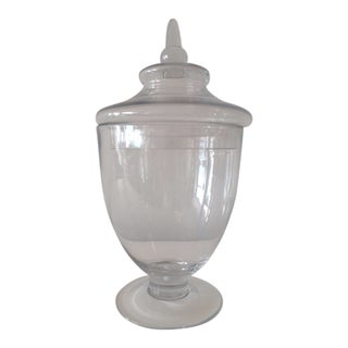 Vintage Hollywood Regency Glass Covered Lidded Candy Urn For Sale