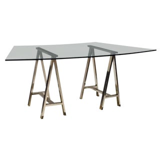 Contemporary Glass Table on Chrome Saw Horse Bases For Sale