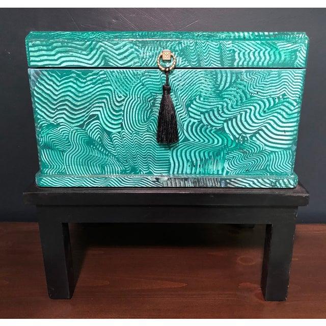 1960s Vintage Faux Malachite Box For Sale - Image 9 of 9