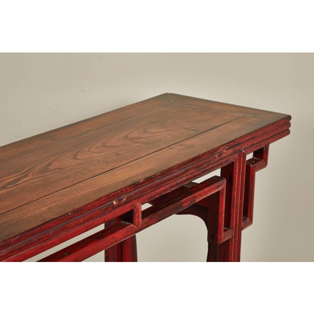 Red 18th C. Chinese Red Lacquer Elm Altar Table For Sale - Image 8 of 9