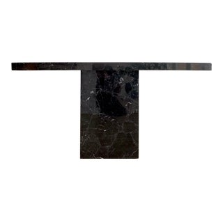 Vintage Modern Nero Marquina Marble Console Table For Sale