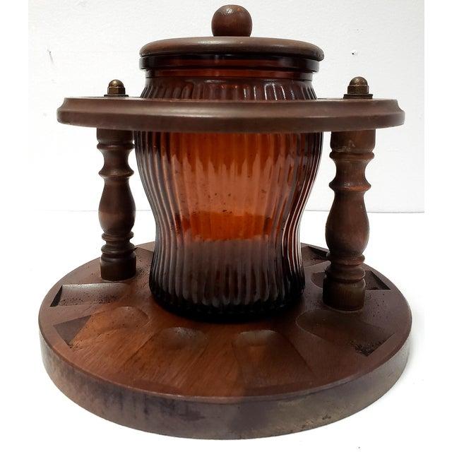 1950s Dun-Rite Walnut Pipe Rack W/ Humidor Tobacco Jar For Sale In Miami - Image 6 of 6