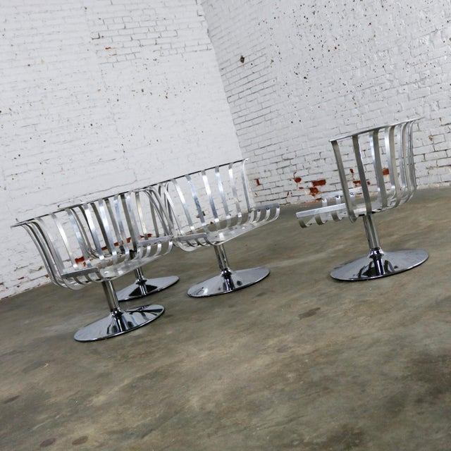 Metal Polished Aluminum Tulip Shaped Swivel Lounge Chairs by Russell Woodard - Set of 4 For Sale - Image 7 of 11