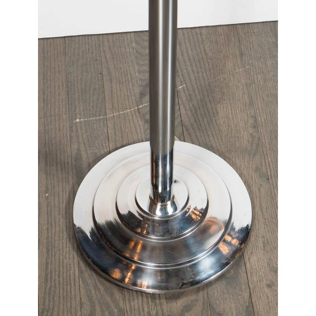 Streamlined Art Deco Machine Age Floor Lamp in Chrome and Black Enamel For Sale - Image 4 of 6
