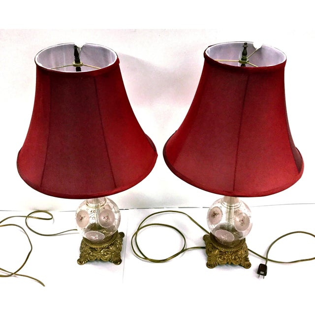Victorian Hand Painted Glass and Carved Brass Table Lamps - a Pair For Sale - Image 9 of 12