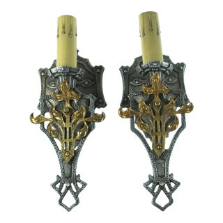 Vintage 1920s Spanish Revival Wall Sconces - a Pair For Sale