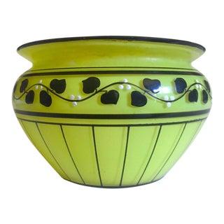 Vintage 1930's Rare Art Deco Czechoslovakia Chartreuse Citron Green Hand Painted Art Glass Bowl For Sale