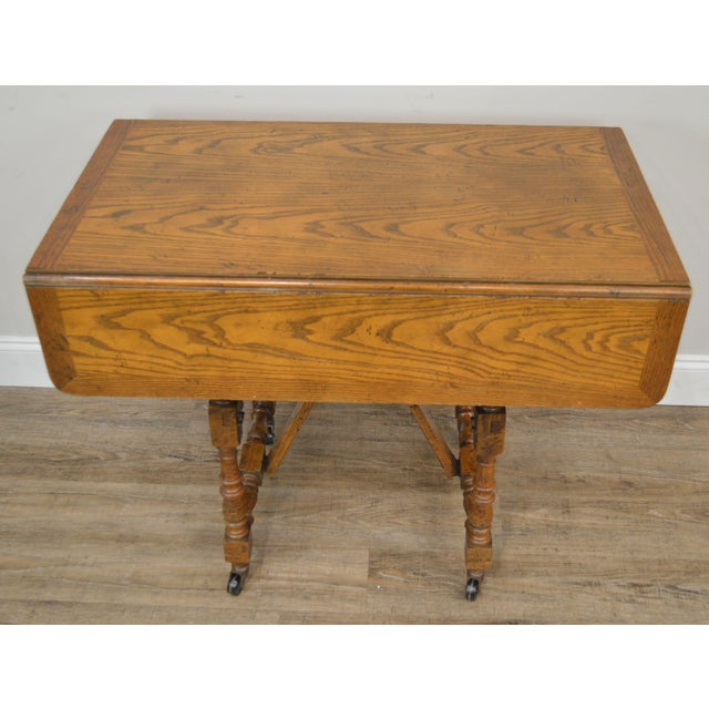 Wood Baker Vintage Jacobean Style Oak Dropleaf High Low Adjustable Coffee Serving Table For Sale - Image 7 of 13