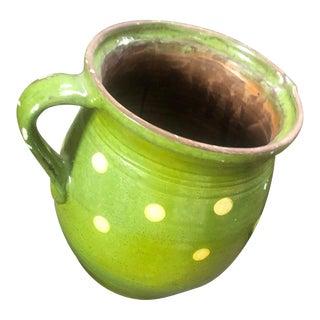 1980s Green Ceramic Polka Dot Vase For Sale