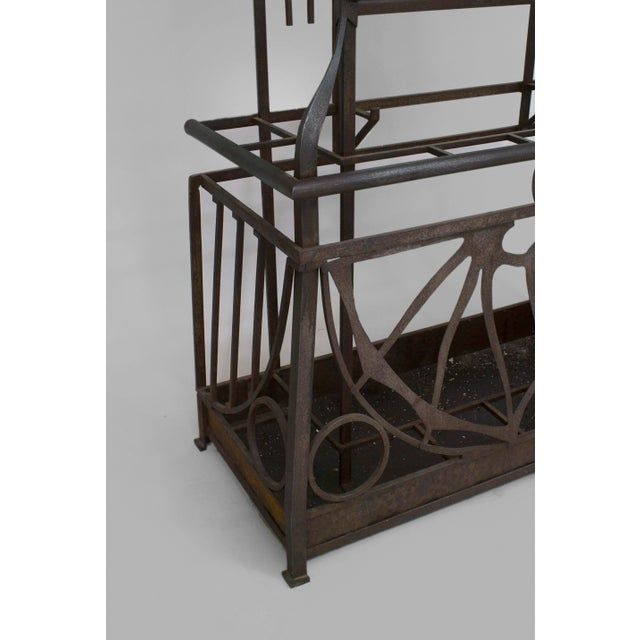Art Deco French Art Deco (Possibly Austrian) Iron Hatrack/umbrella Stand For Sale - Image 3 of 4