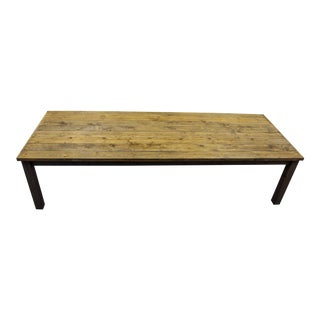 French Country Custom 10 Foot Solid Wood Farmhouse Dining Table For Sale