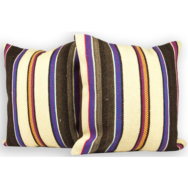 Matching Turkish Striped Kilim Pillows - A Pair - Image 2 of 3