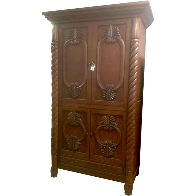 Carved Solid Wood Armoire - Image 1 of 3