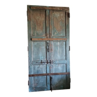 Antique Double Door With Antique Iron Elements For Sale