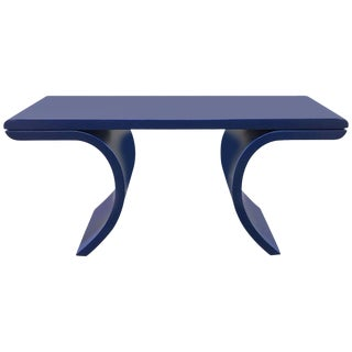1970s Blue Lacquered Curvilinear Console Table