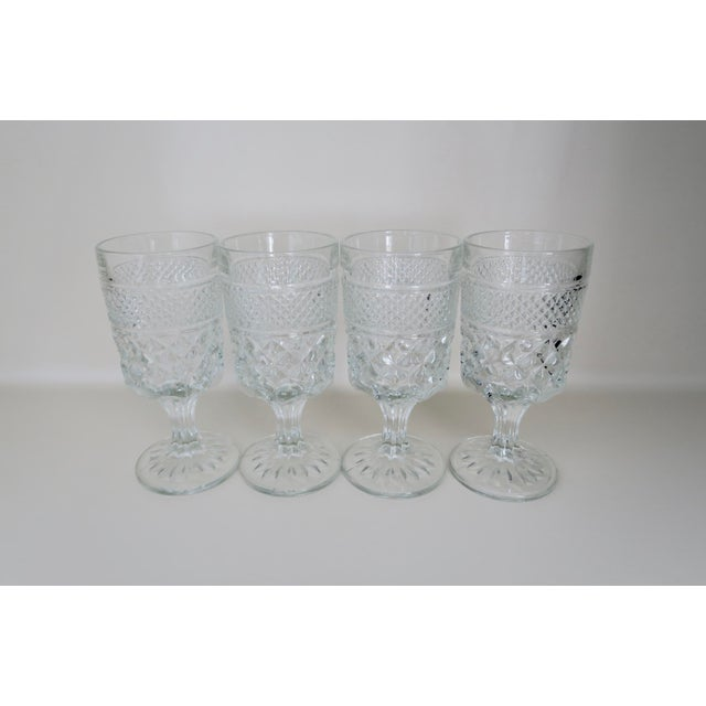 Boho Chic Vintage Anchor Hocking Wexford Clear Glass Crystal Wine Glasses Set of 4 For Sale - Image 3 of 3