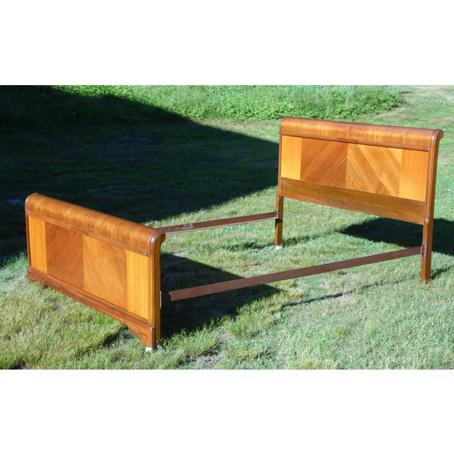 Vintage Art Deco Walnut Full Double Waterfall Bed For Sale - Image 4 of 12