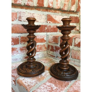 Antique English Carved Oak Open Barley Twist Candlesticks - a Pair Preview