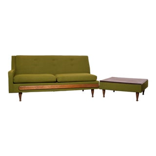 Mid-Century Modern Original Olive Loveseat & Lamp Table For Sale
