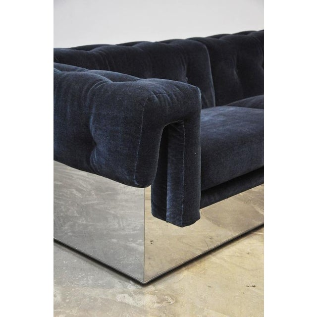 Chrome Milo Baughman Chrome Case Sofa in Blue Mohair For Sale - Image 7 of 7
