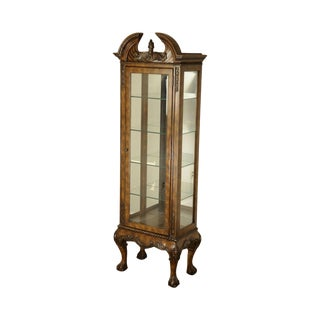 Pulaski Ball & Claw Foot Carved Narrow Curio Display Cabinet For Sale