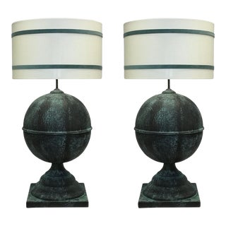 Zinc Finial Ball Lamps - A Pair For Sale