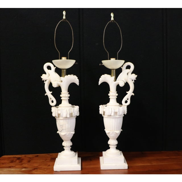Alabaster Table Lamps - A Pair - Image 2 of 10