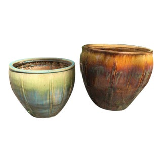 Pair of Contemporary Glazed Garden Planter Pots For Sale