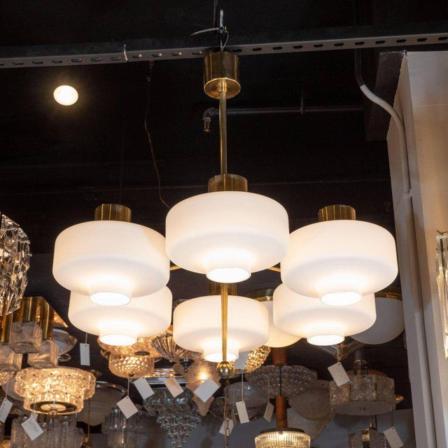Brass Scandinavian Mid-Century Modern Six-Arm Brass and Frosted White Glass Chandelier For Sale - Image 7 of 9