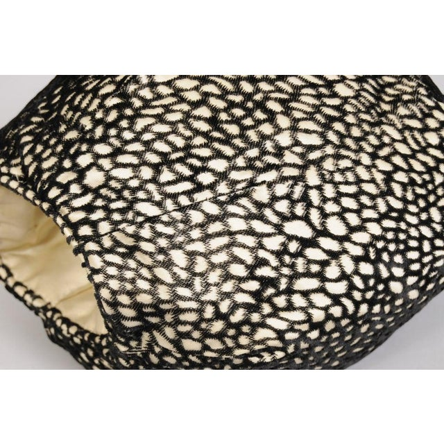 Traditional Black and White Voided Velvet on Cream Satin Muff For Sale - Image 3 of 5