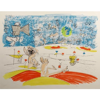 "Roberto Matta ""Fog Gog Magog"" Planche 5 Hand Signed Ltd Ed Matted Lithograph, 1971 For Sale"