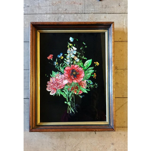 Victorian tinsel painting of a large bunch of flowers. Tinsel painting was a Victorian lady's pastime which involved...