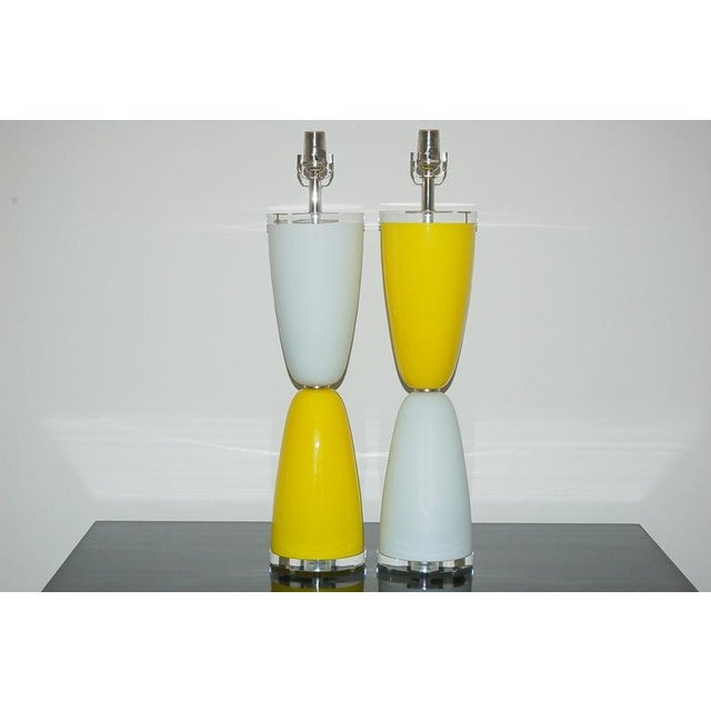 Back to the 1960's with these Venetian glass parabolic table lamps in YELLOW and WHITE. The two vintage pieces are...