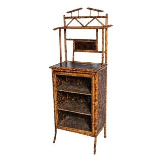 Superb English Bamboo Side Cabinet / Bookcase For Sale