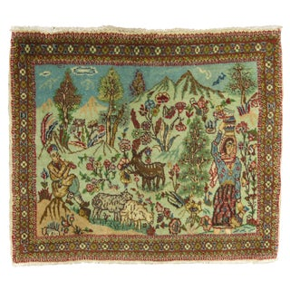 Pictorial Tabriz Rug, 1'11'' X 2'5'' For Sale