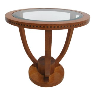 Biedermeier Hickory White Genesis Neo Classical Round Lamp Table For Sale